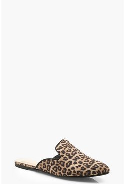 Womens Leopard Pointed Mule Loafers