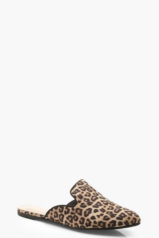 Womens Leopard Leopard Pointed Mule Loafers