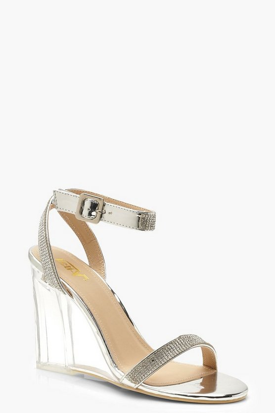 Womens Silver Embellished Clear Wedges