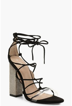 Womens Black Embellished Block Heel Lace Sandals
