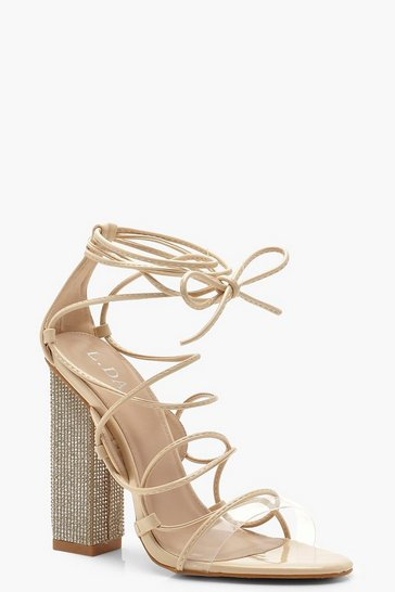 Womens Nude Embellished Block Heel Lace Sandals