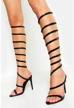 Womens Black Embellished Wrap Leg Heels