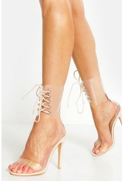 Womens Nude Clear Cuff Heeled Sandals