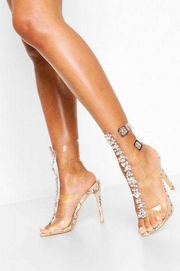 Natural Embellished Clear Gladiator Heels