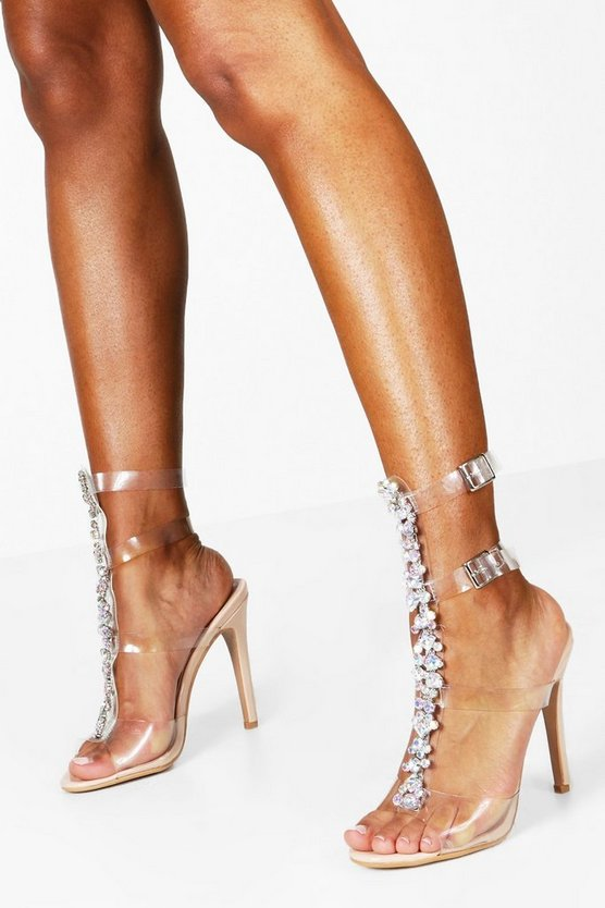 Womens Nude Embellished Clear Gladiator Heels