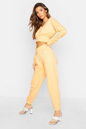 Womens Orange Shirred Waist Jogger