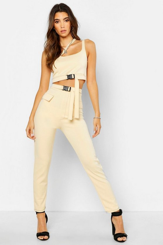 Womens Stone Buckle Detail Tapered Pants
