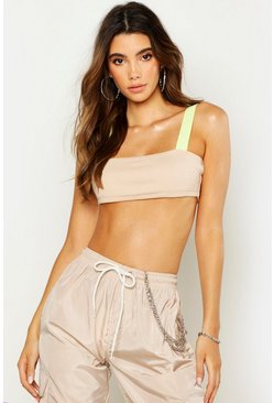 Womens Stone Contrast Strap Crop Top