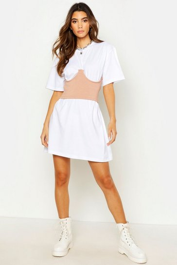 Womens White Waist Corset Oversized T-Shirt Dress