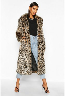 Womens Brown Leopard Faux Fur Longline Coat