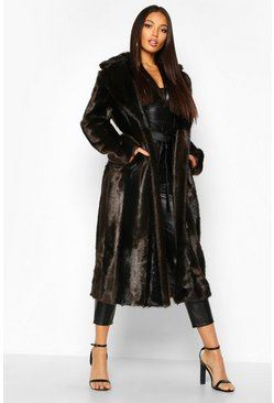 Dam Brown Longline Vintage Faux Fur Coat
