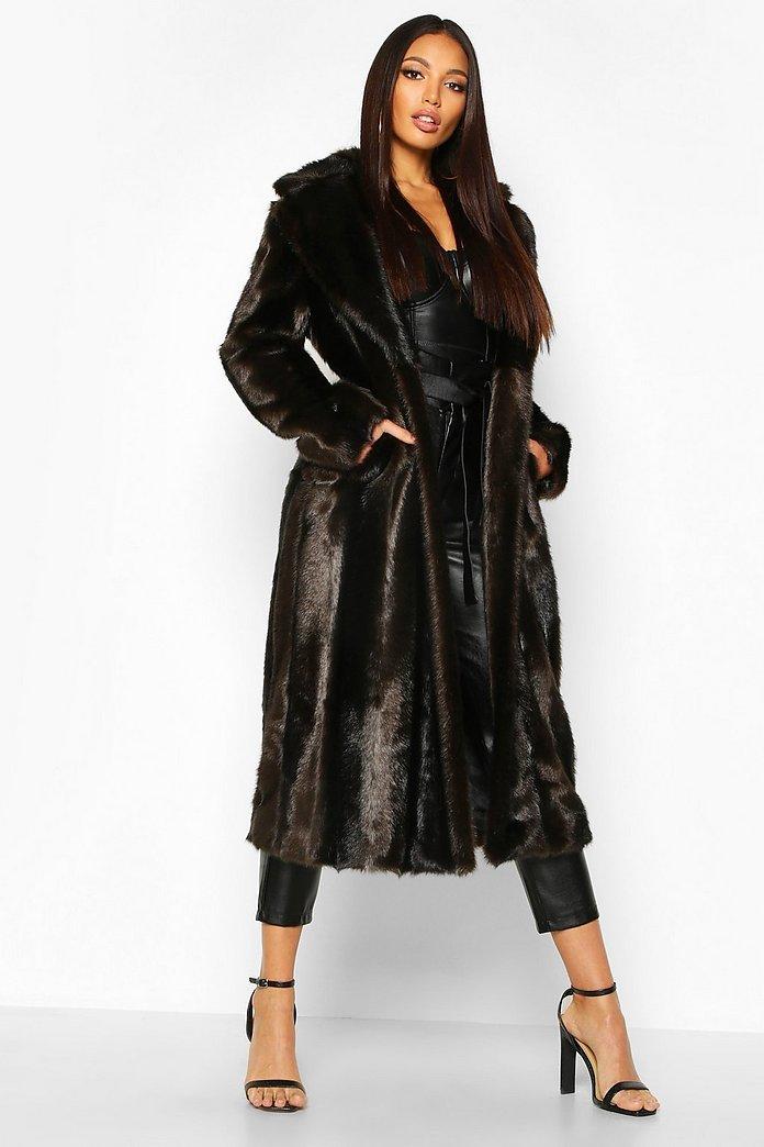 Longline Fake Fur Mantel im Vintage Look | Boohoo