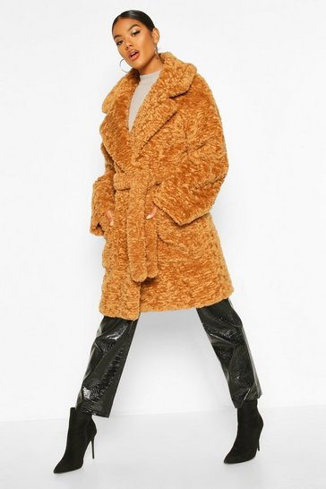 Womens Toffee Textured Faux Fur Belted Coat