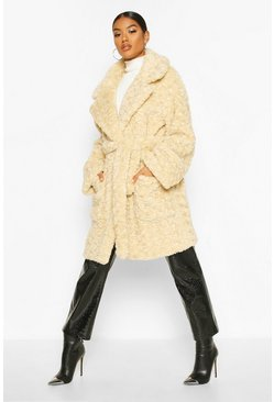 Dam Cream Textured Faux Fur Belted Coat