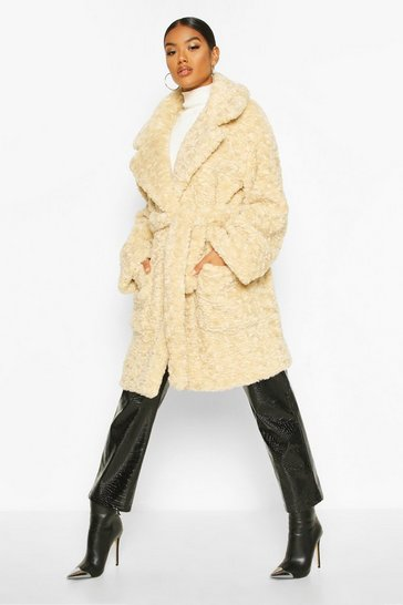 Womens Cream Textured Faux Fur Belted Coat