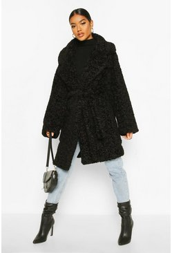 Womens Black Textured Faux Fur Belted Coat