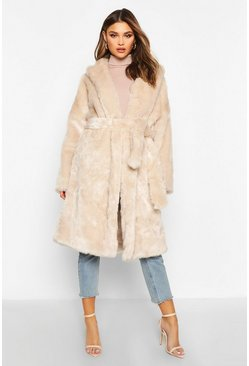 Womens Oatmeal Luxe Faux Fur Belted Coat
