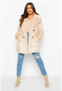 Womens Oatmeal Double Breasted Faux Fur Coat