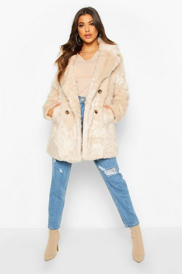Oatmeal Double Breasted Faux Fur Coat