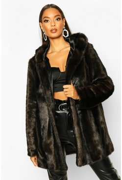 Womens Brown Vintage Style Faux Fur Hooded Coat