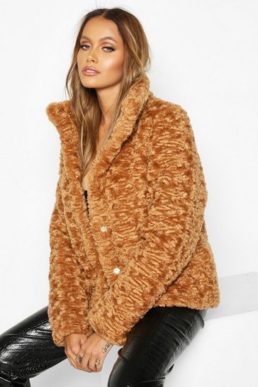 Toffee Premium Textured Faux Fur Puffer