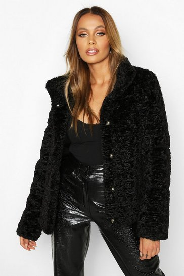 Womens Black Premium Textured Faux Fur Puffer