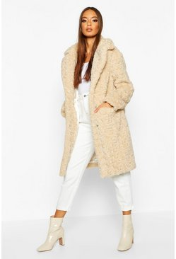 Womens Cream Textured Faux Fur Collared Coat