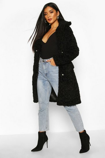 Womens Black Textured Faux Fur Collared Coat