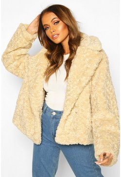 Cream Premium Textured Collared Faux Fur Coat