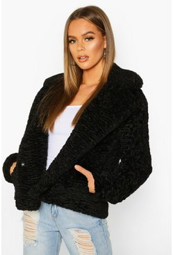 Womens Black Premium Textured Collared Faux Fur Coat