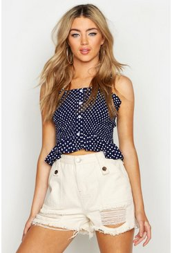 Womens Navy Polka Dot Woven Shirred Crop Top