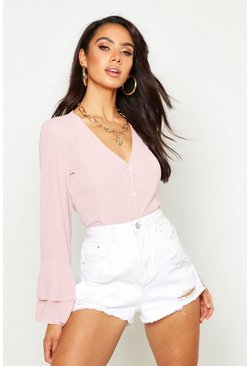 Womens Blush Woven Flared Sleeve Blouse
