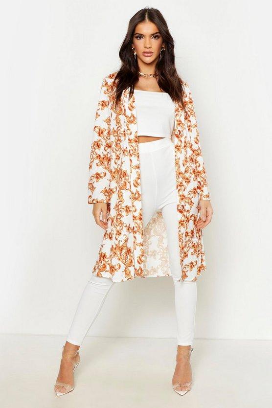 Satin Chain Print Tie Kimono by Boohoo