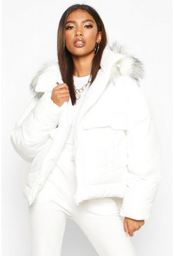 Womens White Faux Fur Trim Double Pocket Puffer