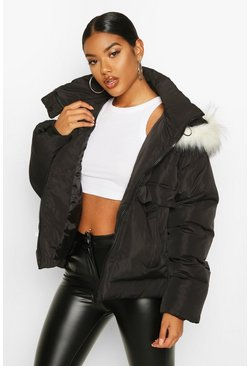 Womens Black Faux Fur Trim Double Pocket Puffer