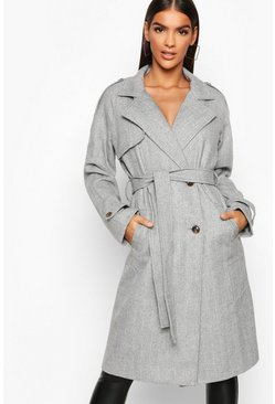 Womens Grey Herringbone Wool Look Trench