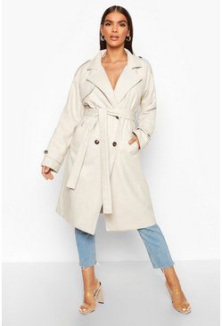 Herringbone Wool Look Trench, Cream