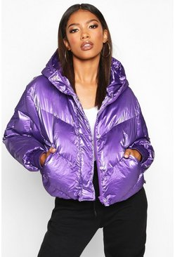 Pearlescent Cropped Hooded Puffer, Purple, Femme