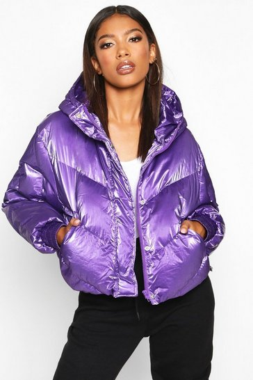 Womens Purple Pearlescent Cropped Hooded Puffer