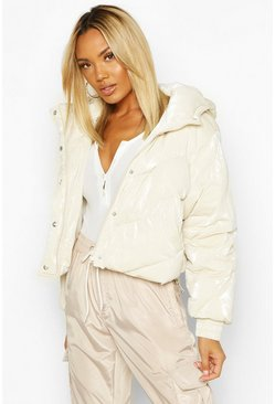 Womens Cream Pearlescent Cropped Hooded Puffer