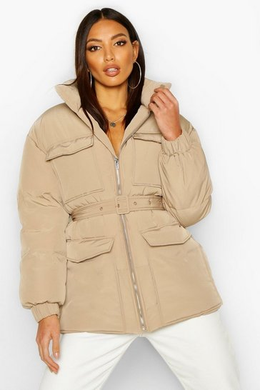Womens Khaki Double Pocket Belted Utility Puffer