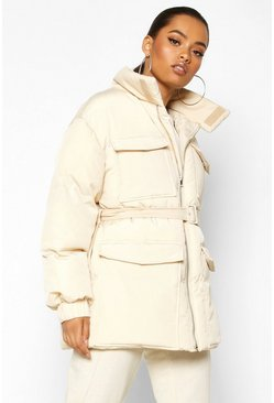 Womens Cream Double Pocket Belted Utility Puffer