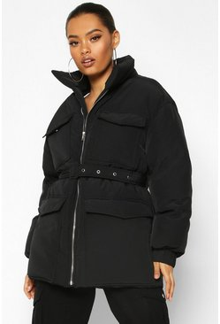 Womens Black Double Pocket Belted Utility Puffer