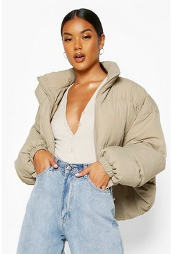 Funnel Neck Cropped Puffer Jacket, Dove, Donna