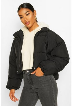 Womens Black Funnel Neck Cropped Puffer Jacket