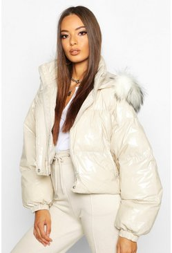 Crop Vinyl Faux Fur Trim Puffer Jacket, Stone