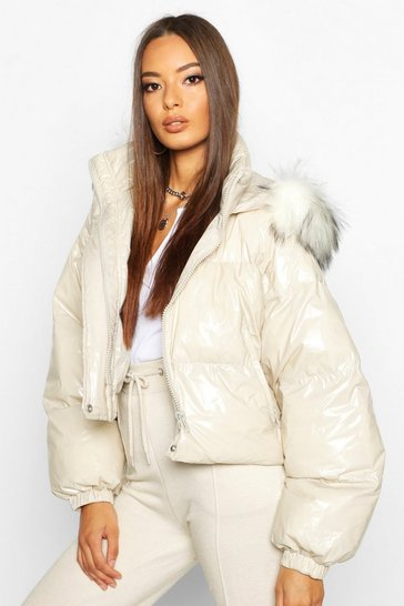 Womens Stone Crop Vinyl Faux Fur Trim Puffer Jacket