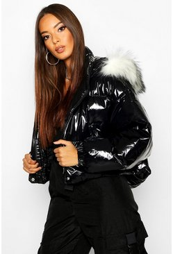 Womens Black Crop Vinyl Faux Fur Trim Puffer Jacket