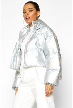 Womens Silver Cropped Holographic Puffer Jacket