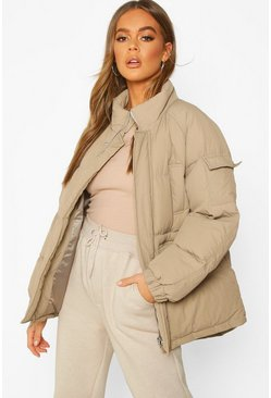 Funnel Neck Pocket Detail Puffer, Dove, Femme